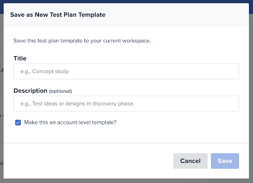 A screenshot of the Save as New Test Plan Template window