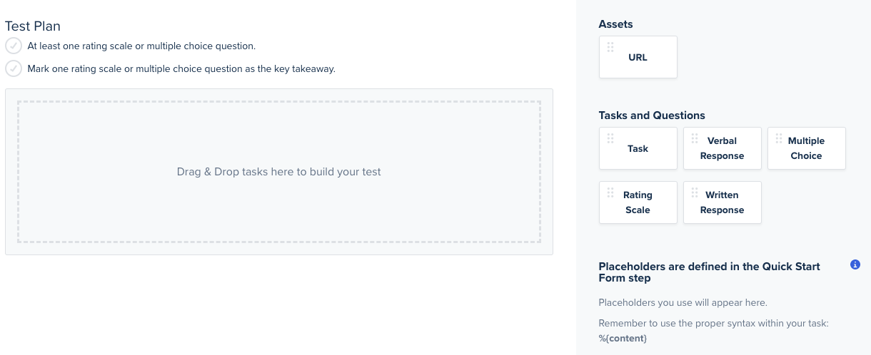 A screenshot of the test plan section.