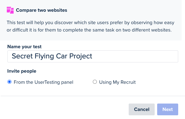 A screenshot showing the title added by a colleague: Secret Flying Car Project.